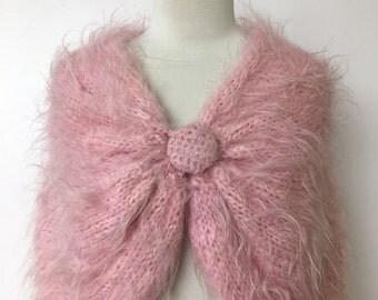 1950's Bubblegum Pink Angora & Mohair Hand Knit Shawl