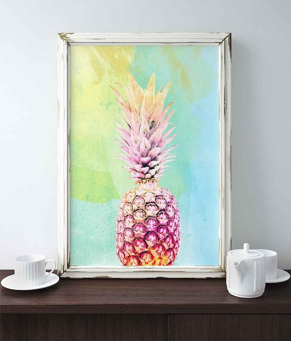 Rainbow Kitchen Decor: Pineapple Printable Pineapple Print Rainbow Pineapple By