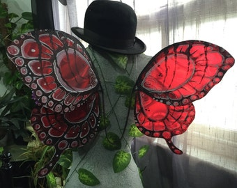 Red & Black Butterfly Wings - Made to Order