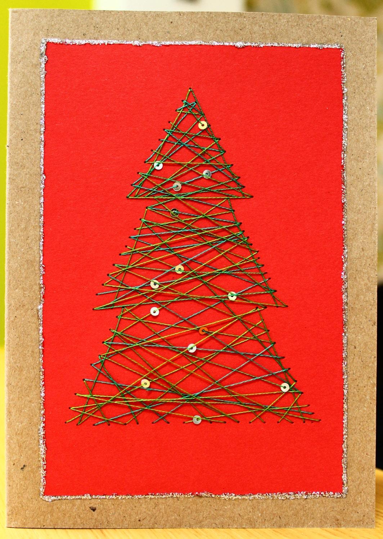 Handmade string art christmas tree xmas card by