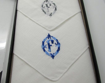 "Vtg  Sunlawn  Men's  Women's Handkerchiefs Monogram Initial Letter "" F  "" Ornate Blue Grey Two Shades Embroidery Box  Father Of The Bride"