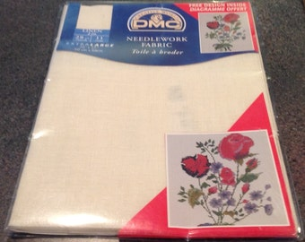 "DMC Needlework Linen 28 Count Fabric Extra Large 20 "" x 27 "" 50 cm x 68 cm Free Design Inside"