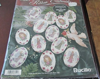 Bucilla 83311  Silk Ribbon Embroidery Ornament Set Victorian Angels  Set Of 12  Counted Cross Stitch Christmas Decor