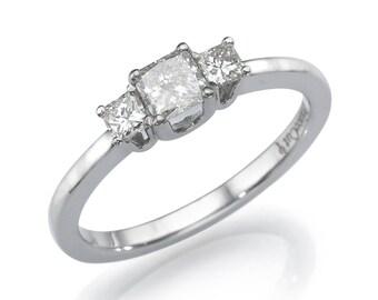 Princess Cut Diamond Engagement Ring, Three Stone Ring, 18K White Gold Ring, 0.5 CT Diamond Ring, 3 Stone Ring