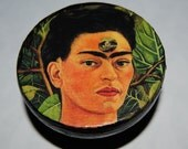 Frida Kahlo Self Portrait, Thinking about death Round Hand Painted Wood Trinket Box