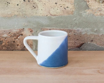 Blue Dipped White Geometric Ceramic Espresso Cup by Barombi Studios