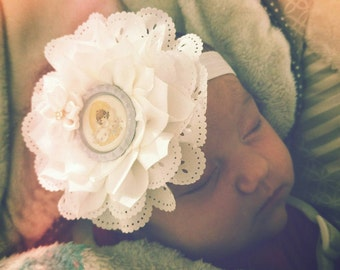 SALE!! Precious Moments Baptism Double Flower Headbands/Clips/Barrettes