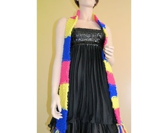 Long scarf for woman, knitted hand, colourful