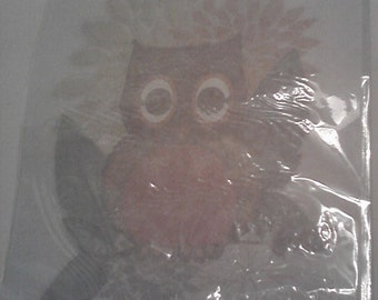 Simplicity Iron-on Transfer brown orange owl on tree branch