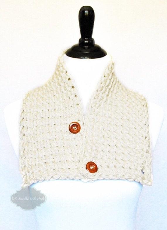 Cream Button Cowl, Tunisian Neck Warmer, Off White Button Scarf, Beige Wrap Scarf, Collar  - Neutral, Tan