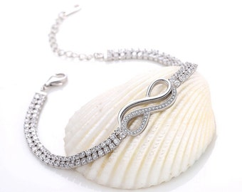 Infinity White Cubic Zirconia Bracelet. Sterling Silver
