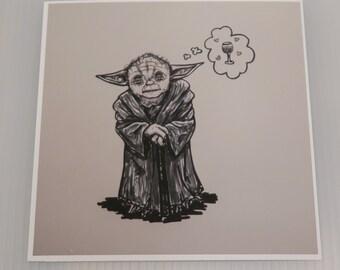 """Yoda <3 Wine Print 4""""x4"""""""
