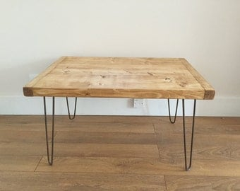 Rustic Pine Chunky Coffee Table Metal Hairpin Legs