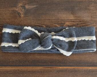 Charcoal Gray Top Knot Headband, White Scallop Accent, Adjustable Headband, Baby Headband, Dark Gray, Adult Headband, Headache Free
