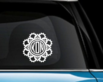 Mandala Monogram Car Decal - Yeti Monogram Decal - Monogram Car Decal - Mandala