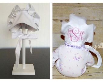 Monogrammed Baby Bonnet, 100% Organic cotton bonnet