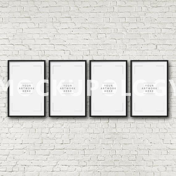 11x17 set of four vertical digital black frame mockup styled for 11x17 mockup