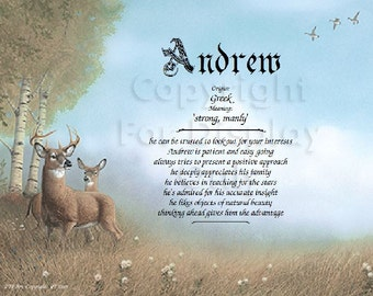 Personalized Deer Scene Name Meaning Print