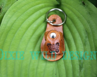 Leather Sandal Keychain With Butterfly, Handmade Leather Keychain