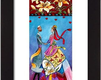 Romantic Jewish ORIGINAL art Judaica home decor and wedding gift