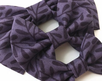 Purple Vines Hair Bow - Fabric Hair Bow - Purple Fabric Bow - Purple Floral Hair Bow - Fall Fabric Bow - Fall Floral Headband