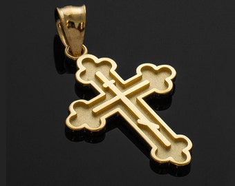 Gold Russian Eastern Orthodox Cross Charm Pendant Necklace (yellow, white, rose gold)