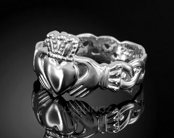 Sterling Silver Claddagh Ring - Ladies Celtic Band Irish Claddagh Ring