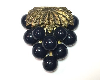 30s  Navy Grape Dress Clip
