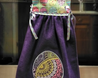 Easter Egg Hanging Dress Towel-Purple