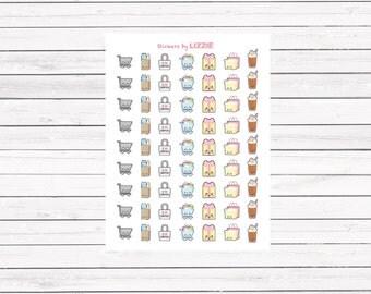 Kawaii face shopping planner stickers for Erin Condren Life Planner, Kikki-k, filofax and more