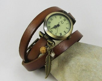 Leather watch personalized : brown leather bracelet and watch face, handmade womens watches with charms