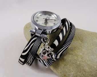 Zebra wrap leather bracelet watch for woman, handmade leather watch, black and white
