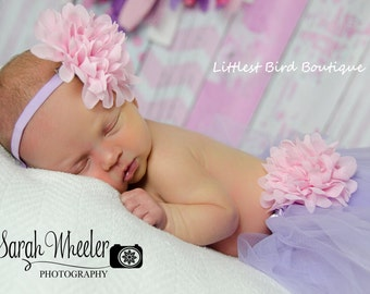 Chiffon flower headband and tutu gift set