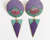 Retro Lavender Cloisonne Earrings