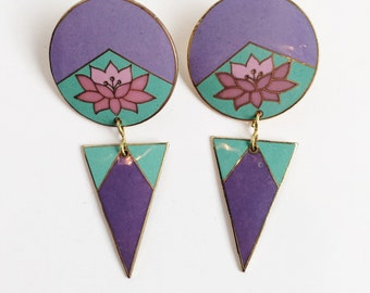 Purple Cloisonne Triangle and Flower Earrings