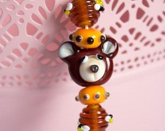 Bears Love Honey Set - Artisan Bear Bead - Honeycomb Bee Beads - Polkadot Glass Beads - UK Handmade Glass Beads - Bead Set - Unique Handmade