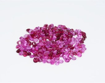 97 Natural Round Cut Red Rubies or Pink Sapphires 2.225 Total Carat Weight Loose Gemstones July Birthstone Mother's Day