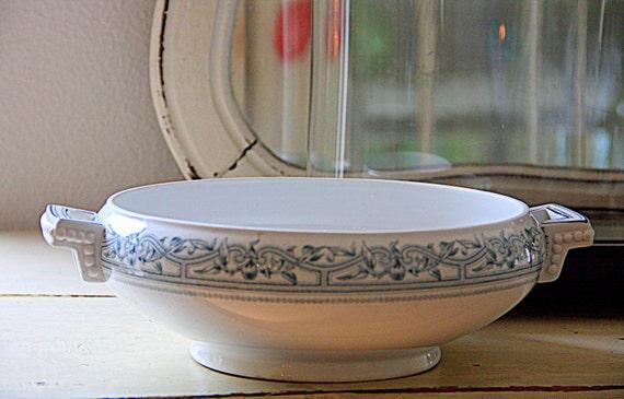 Rare Antique Dutch Ceramic Tureen, Large Serving Bowl, Petrus Regout