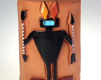 Native American Terra Cotta Wine Cooler Vessel Jar Hand Crafted Signed