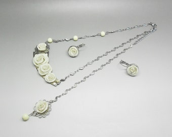 wedding: adornment necklace back and white rose Stud Earrings with glass beads and steel support