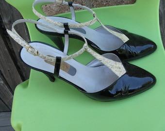 Albert Nippon Black Patent T-Strap Heels