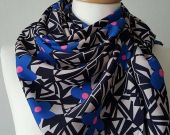 Black/purple geometric print scarf, large square scarf, silky feel square scarf,gift for her, purple flower print scarf