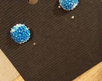 Blue carnation stud earrings