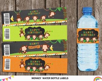 Monkey Water Bottle Label Printable, Monkey Party Supplies, Monkey Birthday Party, Little Monkey Water Bottle Labels, INSTANT DOWNLOAD