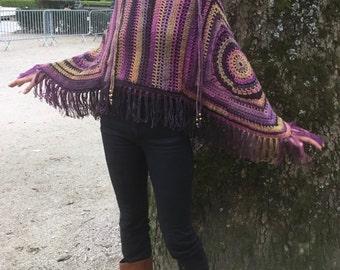 crochet poncho , Fringed poncho ,  purple poncho , boho , granny square poncho , handmade poncho , Poncho, Hippie Bohemian