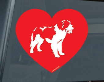 Love Saint Bernard Die Cut Vinyl Sticker v2 st. st - 1312