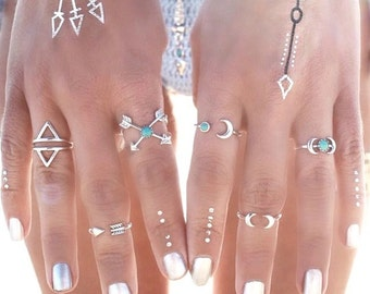 Boho 6 pc ring set