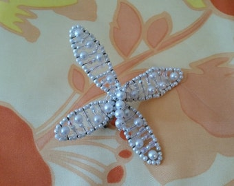 Vintage Butterfly Beaded Pin