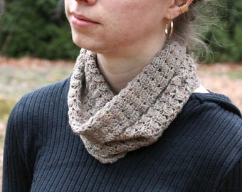 Heather Brown Crocheted Cowl