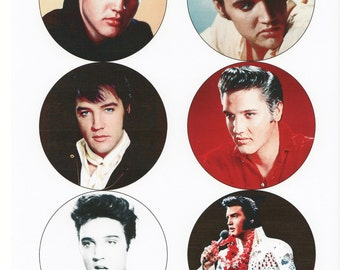 "Elvis circles - 6 x large circles 8cm diameter and 54 x 1""circles instant download"
